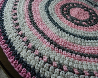 Baby Nursery rug Pink,white,gray handmade circle rug
