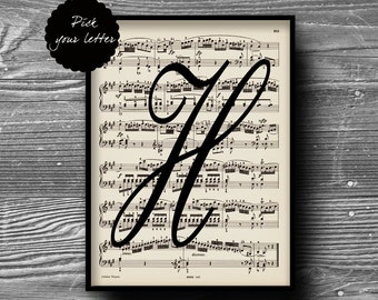 monogram personalized initial letter art print vintage music sheet book page poster typography home decor