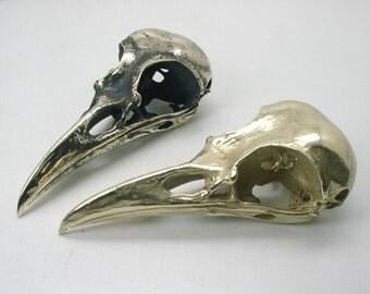 Raven Skull  Pendant, Brass