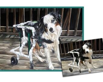 custom pet portrait dog painting original oil commission dog art australian shepherd 18x24 made to order by Heather Hughes