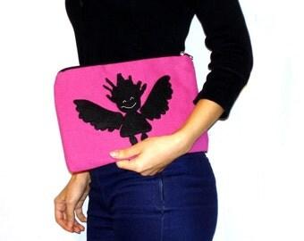 Pink accessories zipper pouch bag, appliqued,  Handmade,clutch,Cosmetic pouch  bag, Pencil case, ooak