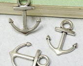 Anchor charms -25pcs Antique Silver Anchor Charm Pendants 15x18mm AA405-4