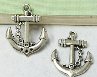 Anchor Charms -15pcs Antique Silver Anchor Charm Pendants 20x25mm A502-4