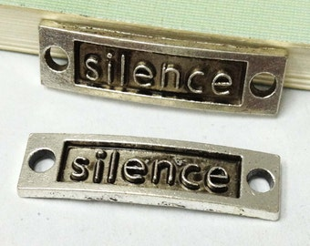"""15pcs Antique Silver Sideways the word """" Silence """" Connector Charm for Bracelets 10x35mm AA209-5"""
