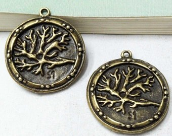 10pcs Antique Bronze Round Tree Branch Charm Pendant 25mm F405-4