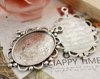 Cabochon Base -5pcs Antique Silver Oval Bezel Charm Pendants 30x40mm AA106-6