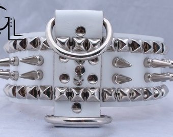 Large Wide White Dog Collar with Long Spikes and Pyramids