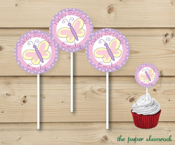 Butterfly Cupcake Topper, Personalized Cupcake Topper, 2 inch round labels
