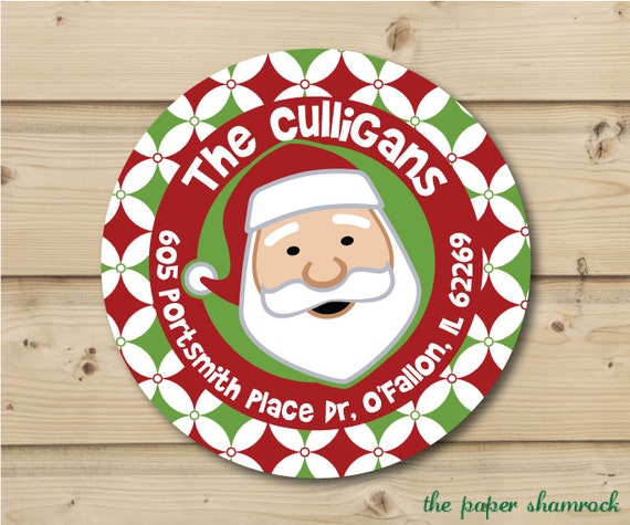 Stickers, Personalized Labels, Round Address Labels, Gift tags, Holiday Labels, Christmas Labels, Labels for Christmas Cards - Santa