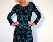 Teal Black Jersey Dress Long or 3/4 Sleeves