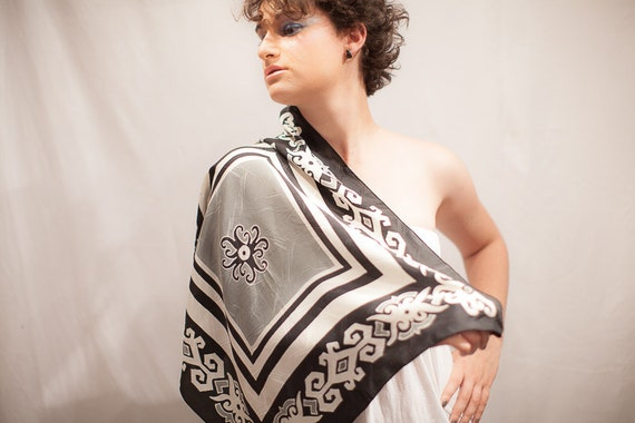 Black and white silk scarf handpainted tribal batik. Hand painted square scarves, scarflette, head wrap covering, hair kerchief, neckerchief