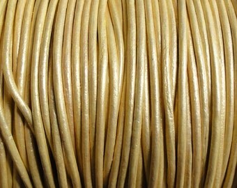 1.5mm Metallic Gold Leather Cord  -  Genuine Leather 1.5mm Round Cord
