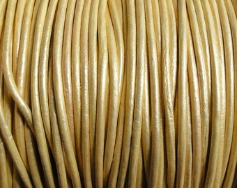 1.5mm Metallic Gold Leather Cord - Round Cord - 2 Yard Increments