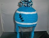 Crocheted baby football beanie Carolina Panthers  or Any Team, any color, any size
