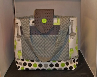 Large Whimsical Giraffe diaper bag   Lime Green, Gray Polka Dots and Chevron  Accents