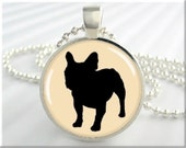 Bulldog Art Necklace Resin Pendant French Bulldog Silhouette Jewelry Pendant Picture Pendant (438RS) - MGArtisanPendants