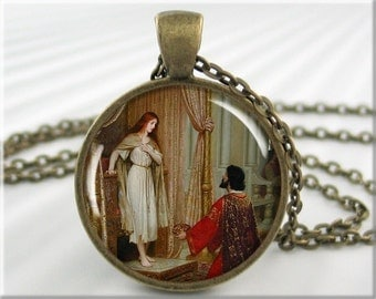 Leighton Art Pendant Charm Edmund Leighton Resin Jewelry The King And The Beggar Maid Necklace Jewellery (617RB)