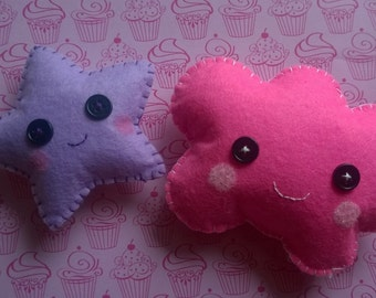 Kawaii Purple Star and Pink Cloud Plush Stuffed Animal Doll Cloth Plushie Soft Softie Cute Ooak Gift Holiday Small