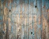 10ft x 8ft Vinyl Photography Backdrop /  Peeling Blue Wood