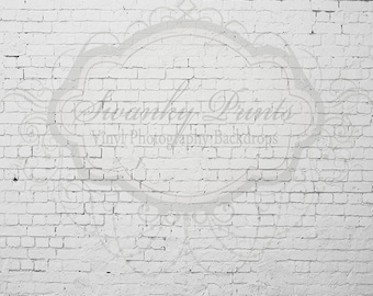8ft x 8ft Vinyl Photography Backdrop / White Worn Brick Wall