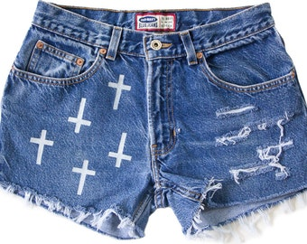High Waisted Denim Shorts Vintage Ripped Distressed Cross Religious Gothic Hand Painted Boho Coachella Hipster W30