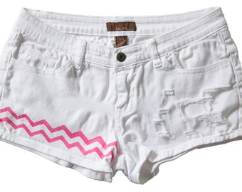 Low Waisted White Denim Shorts Vintage Ripped Distressed Chevron Pink Stripes Hand Painted Boho Coachella Hipster W29