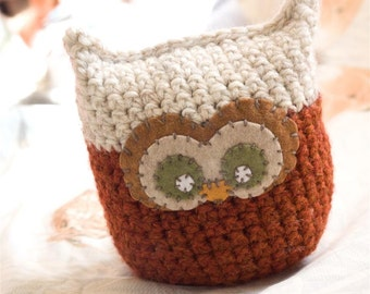 Pumpkin and Beige Crochet Owl - Plush, Decorative Pillow, Amigurumi