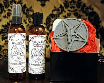 Inverted Pentagram Soap gift set with body oil and body spray