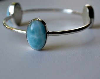 Over sized Larimar Bangle in Sterling Silver