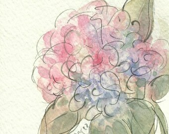 Hydrangea, original watercolor, matted and ready to frame