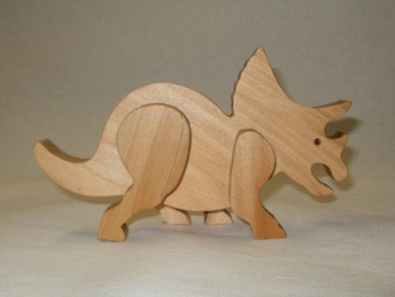 dinosaur wood toy triceratops waldorf