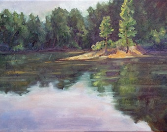 Oil Painting-Landscape-Pond Art-Original Art-Nature Pianting-Original Art by Diann