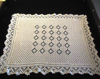 Beautiful White Crocheted baby blanket