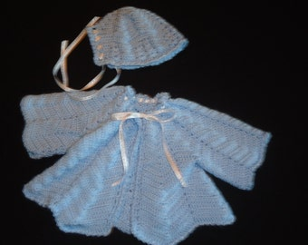 Blue Baby sweater and hat set (3-6 mos)