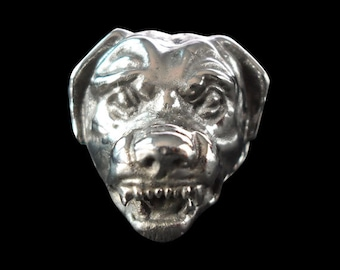 Stainless Steel Rottweiler Biker Ring - Free Re-Size/Shipping