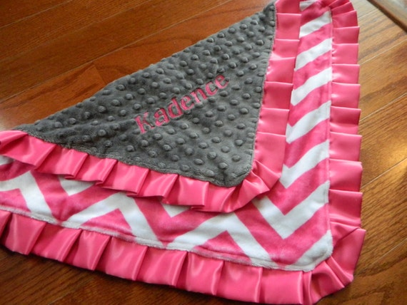 "Monogrammed Ruffle Lovey. 18"" Charcoal and Pink Chevron Minky with Satin Ruffle."