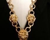 Kenneth J. Lane Lion Head Gold Necklace