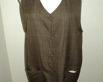 Retro Preppy Brown Plaid Jumper Vest Like Dress with Matching Brown Plaid Buttons, Size Medium in Mint Condition, LOVE STORY STYLE Clothing