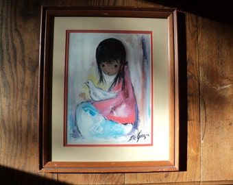 "Vintage DeGrazia Lithographic Print from the original oil painting called ""The White Dove"" as seen in The DeGrazia Gallery in The Sun, AZ"