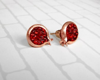 Pomegranates stud  earrings. MADE TO ORDER.