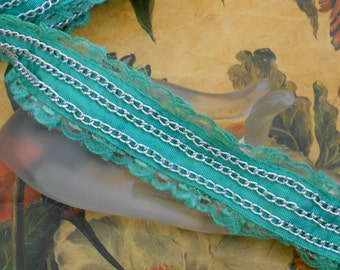 Lime Green Lace Chain Detail Trim