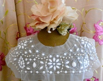 Silver Stitched White Stone Beaded Applique
