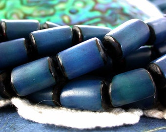 Buri Nut Beads, Buri Seed Beads, Natural Buri Nut Beads, Blue Buri Beads, Recycled Beads, Buri Palm Nut Beads  NAT-216