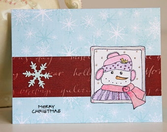 Snowman Greeting Card, Handmade Christmas Card with Cheerful Snowman and Snowflakes, Merry Christmas, Holiday Greetings, Blue and Red Card