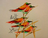 birds painting, original, water color, animals, nature