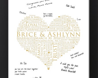 Interactive Art Print Guestbook, personalized word art, WEDDING GUESTBOOK SIGNATURE poster, love words poster, 13x19 Signature Guest Book