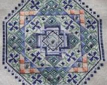 Blue Aventurine/ Persian Garden Mandala Cross Stitch Chart pdf Pattern Instant Download Kaleidoscopic Floral Geometric Octagonal Stitching