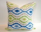 Designer Pillow Cover, Decorative, Throw. 16x16 inch- Popular Waverly grey, blue, lime