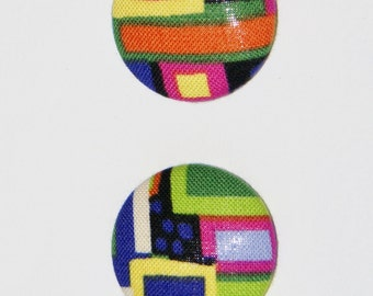 Fabric Covered Button Earrings- Multicolor