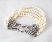 Freshwater pearl bracelet, Bridal Pearl Jewelry, Vintage inspired bracelet, Swarovski crystal Handmade Jewelry, Wedding Pearl Bracelet